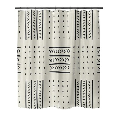 Couturier Geometric Woven Shower Curtain Color: Ivory, Size: 90 H x 70 W x 0.1 D