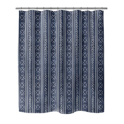 Couturier Geometric Shower Curtain Color: Indigo, Size: 72 H x 70 W x 0.1 D