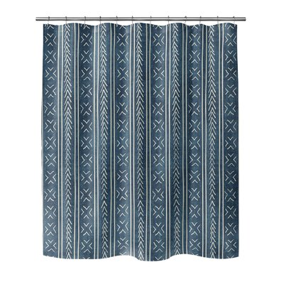 Couturier Geometric Shower Curtain Color: Teal, Size: 90 H x 70 W x 0.1 D