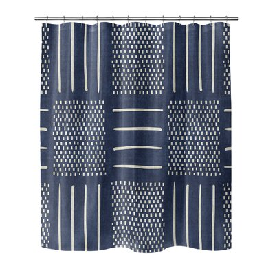 Couturier Geometric Shower Curtain Color: Indigo, Size: 90 H x 70 W x 0.1 D