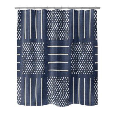 Couturier Geometric Shower Curtain Color: Indigo, Size: 72 H x 70 W x 0.1 D