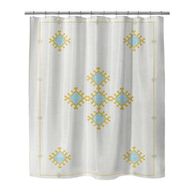 Geometric Woven Polyester Shower Curtain Size: 72 H x 70 W x 0.1 D, Color: Blue/Yellow