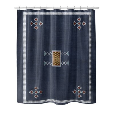 Geometric Polyester Shower Curtain Size: 90 H x 70 W, Color: Beige/Red