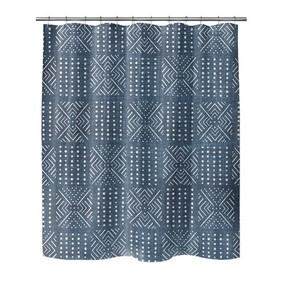 Geometric Shower Curtain with Single Sided Color: Blue, Size: 90 H x 70 W x 0.1 D