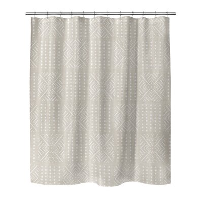 Geometric Shower Curtain with Single Sided Color: Cream, Size: 90 H x 70 W x 0.1 D