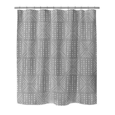 Geometric Shower Curtain with Single Sided Color: Grey, Size: 72 H x 70 W x 0.1 D