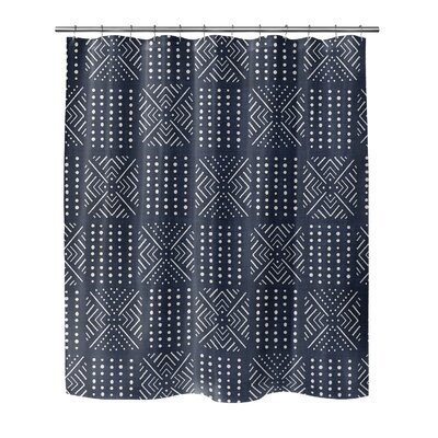 Geometric Shower Curtain with Single Sided Color: Navy, Size: 90 H x 70 W x 0.1 D