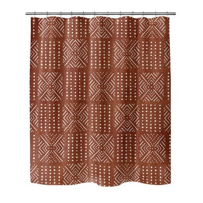 Geometric Shower Curtain with Single Sided Color: Rust, Size: 72 H x 70 W x 0.1 D