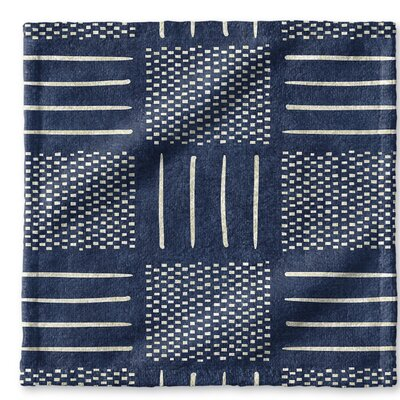 Dalton Symmetry Cloth Washcloth with Single Sided Print Color: Indigo
