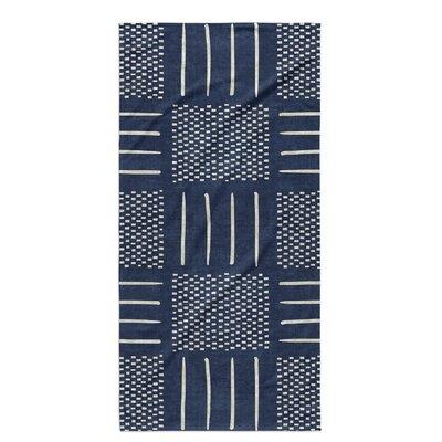 Dalton Symmetry Geometric Cloth Bath Towel Color: Indigo