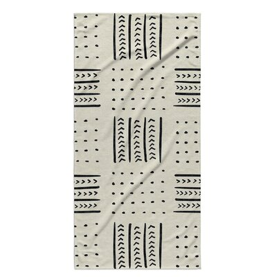 Dalton Symmetry Geometric Cloth Bath Towel with Single Sided Print Color: Ivory