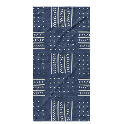Dalton Symmetry Geometric Cloth Bath Towel with Single Sided Print Color: Indigo