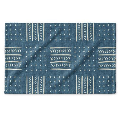 Dalton Symmetry Geometric Cloth Hand Towel with Single Sided Print Color: Teal