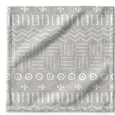 Dalton Symmetry Geometric Cloth Washcloth with Single Sided Print Color: Grey