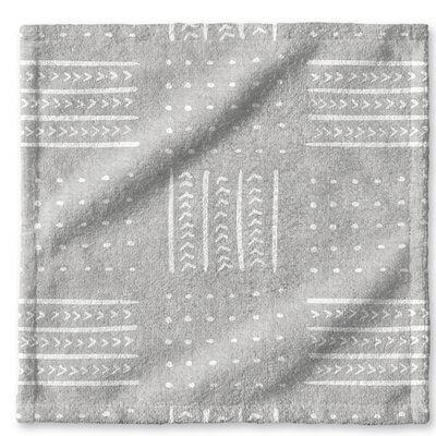 Dalton Geometric Cloth Washcloth with Single Sided Print Color: Grey