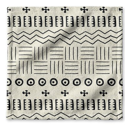 Dalton Symmetry Geometric Cloth Washcloth with Single Sided Print Color: Ivory