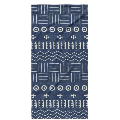Dalton Symmetry Cloth Bath Towel with Single Sided Print Color: Indigo