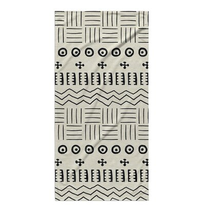 Dalton Symmetry Cloth Bath Towel with Single Sided Print Color: Ivory