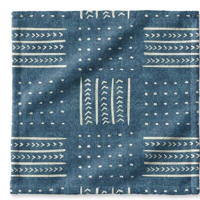 Dalton Geometric Cloth Washcloth with Single Sided Print Color: Teal