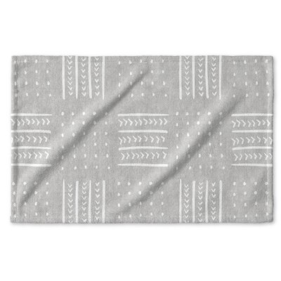 Dalton Symmetry Geometric Cloth Hand Towel with Single Sided Print Color: Grey