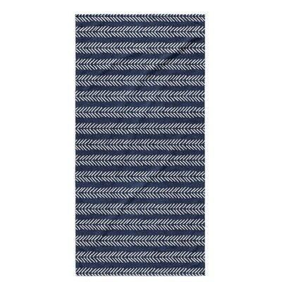 Dalton Geometric Cloth Bath Towel with Single Sided Print Color: Indigo
