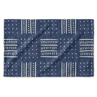 Dalton Symmetry Geometric Cloth Hand Towel with Single Sided Print Color: Indigo