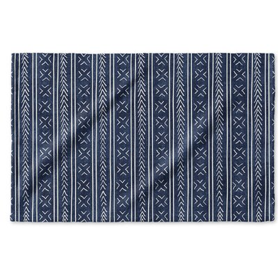 Dalton Geometric Cloth Hand Towel with Single Sided Print Color: Indigo