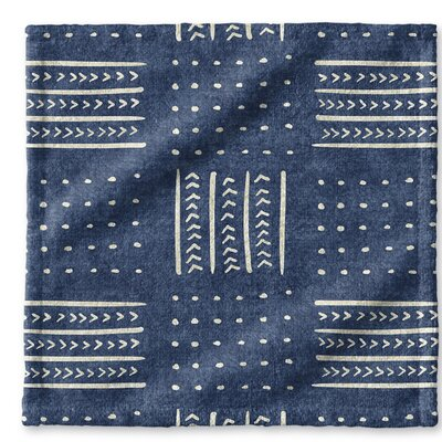 Dalton Geometric Cloth Washcloth with Single Sided Print Color: Indigo
