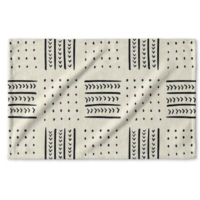 Dalton Symmetry Geometric Cloth Hand Towel with Single Sided Print Color: Ivory