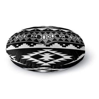 Cherokee Round Floor Pillow Size: 23 H x 23 W x 9.5 D, Color: Black/ White
