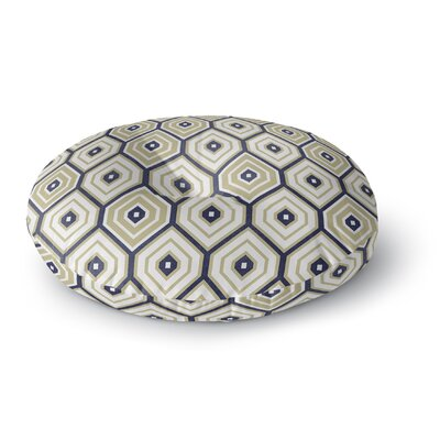 Honey Comb Round Floor Pillow Size: 26 H x 26 W x 12.5 D, Color: Gold/ Blue
