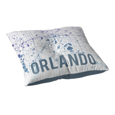 Orlando Sunset Front Floor Pillow Size: 23 H x 23 W x 9.5 D, Color: Blue/ Purple/ White