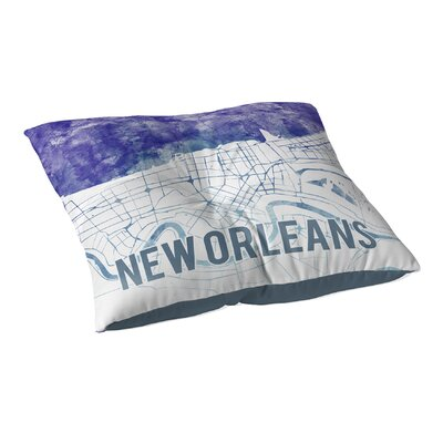 New Orleans Sunset Front Floor Pillow Size: 26 H x 26 W x 12.5 D, Color: Blue/ Purple/ White