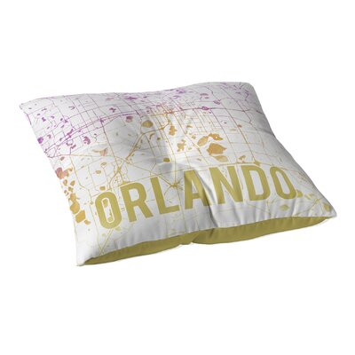 Orlando Sunset Front Floor Pillow Size: 23 H x 23 W x 9.5 D, Color: Purple/ Gold/ White