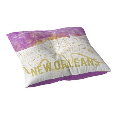 New Orleans Sunset Front Floor Pillow Size: 26 H x 26 W x 12.5 D, Color: Pink/ Purple/ Gold/ White