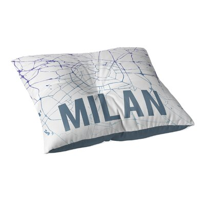 Milan Sunset Front Floor Pillow Size: 23 H x 23 W x 9.5 D, Color: Blue/ Purple/ White