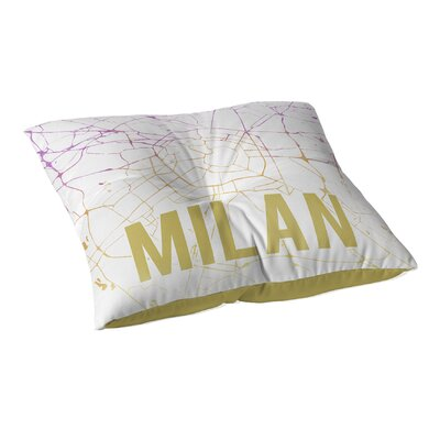 Milan Sunset Front Floor Pillow Size: 23 H x 23 W x 9.5 D, Color: Pink/ Purple/ Gold/ White