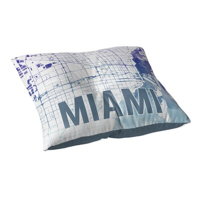 Miami Sunset Front Floor Pillow Size: 26 H x 26 W x 12.5 D, Color: Blue/ Purple/ White