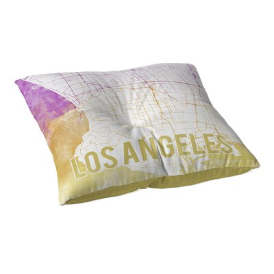 La Sunset Front Floor Pillow Size: 26 H x 26 W x 12.5 D, Color: Pink/ Purple/ Gold/ White