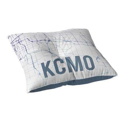 Kcmo Sunset Front Floor Pillow Size: 23 H x 23 W x 9.5 D, Color: Blue/ Purple/ White