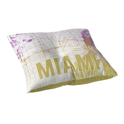 Miami Sunset Front Floor Pillow Size: 23 H x 23 W x 9.5 D, Color: Pink/ Purple/ Gold/ White