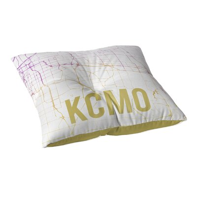 Kcmo Sunset Front Floor Pillow Size: 23 H x 23 W x 9.5 D, Color: Pink/ Purple/ Gold/ White