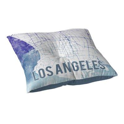 La Sunset Front Floor Pillow Size: 23 H x 23 W x 9.5 D, Color: Blue/ Purple/ White