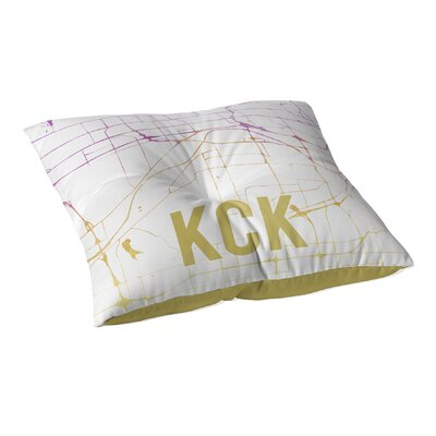 KCK Sunset Front Floor Pillow Size: 23 H x 23 W x 9.5 D, Color: Pink/ Purple/ Gold/ White