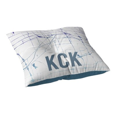 KCK Sunset Front Floor Pillow Size: 23 H x 23 W x 9.5 D, Color: Purple/ Blue/ White