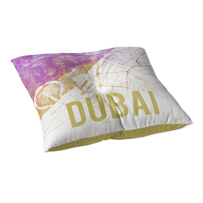 Dubai Sunset Front Floor Pillow Size: 23 H x 23 W x 9.5 D, Color: Pink/ Purple/ Gold/ White