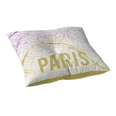 Paris Sunset Front Floor Pillow Size: 26 H x 26 W x 12.5 D, Color: Pink/ Purple/ Gold/ White