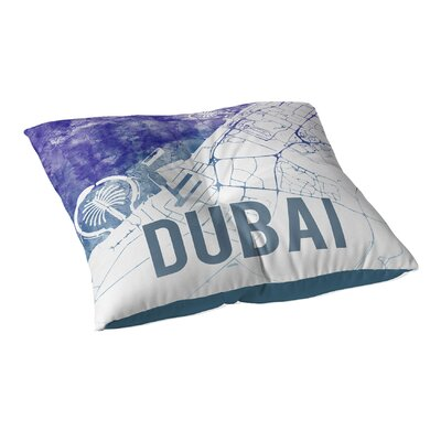 Dubai Sunset Front Floor Pillow Size: 23 H x 23 W x 9.5 D, Color: Blue/ Purple/ White