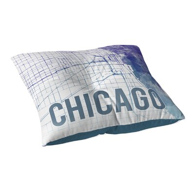 Chicago Sunset Front Floor Pillow Size: 26 H x 26 W x 12.5 D, Color: Blue/ Purple/ White