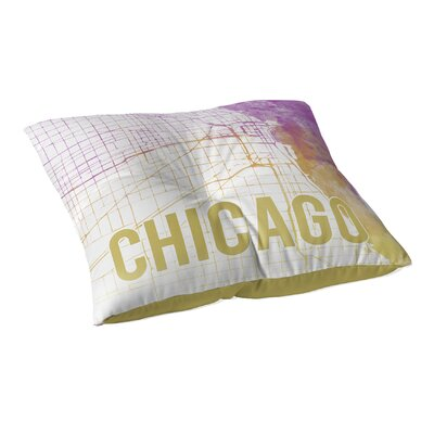 Chicago Sunset Front Floor Pillow Size: 23 H x 23 W x 9.5 D, Color: Pink/ Purple/ Gold/ White